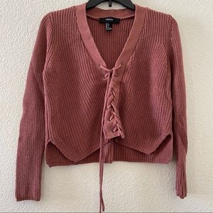 Forever 21 Lace-up Ribbed Knit Sweater